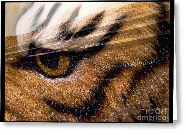 Lsu - Eye Of The Tiger Greeting Card by Elizabeth McTaggart