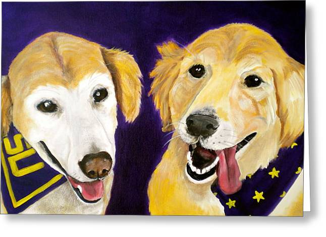 Basketball Team Paintings Greeting Cards - LSU Fans Greeting Card by Debi Starr