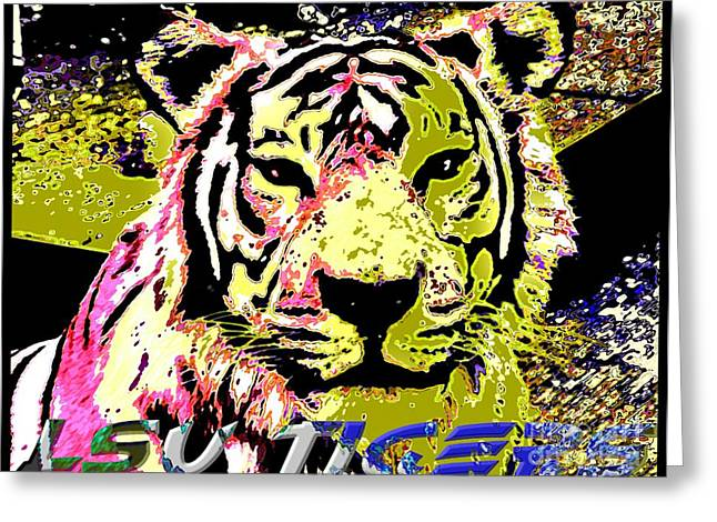 Lsu Fighting Tigers Greeting Card by RJ Aguilar