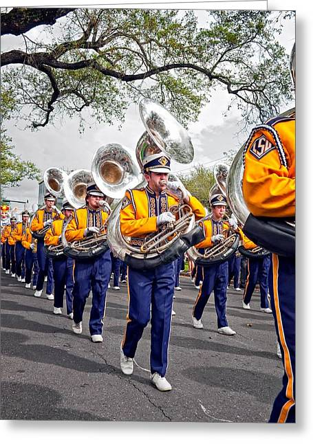 Louisiana State University Greeting Cards - LSU Marching Band 2 Greeting Card by Steve Harrington