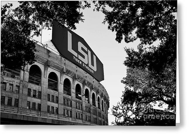 Football Photographs Greeting Cards - LSU Through the Oaks Greeting Card by Scott Pellegrin