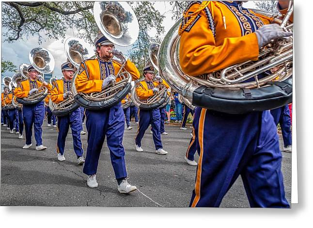 Marching Band Greeting Cards - LSU Tigers Band Greeting Card by Steve Harrington