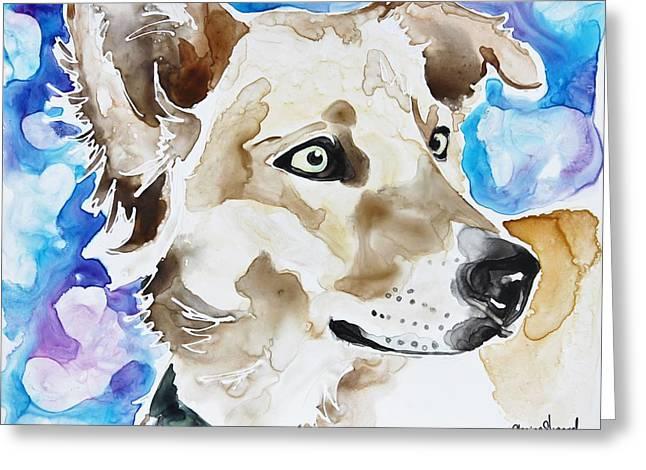 Yellow Dog Greeting Cards - Lua Greeting Card by Shaina Stinard
