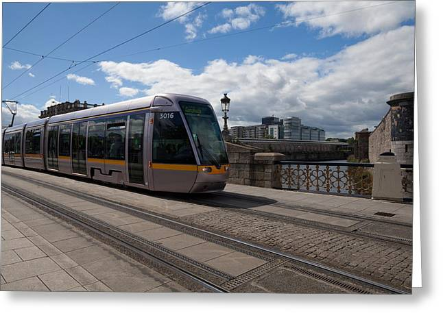 21st Greeting Cards - Luas Tram On The Sean Heuston Bridge Greeting Card by Panoramic Images