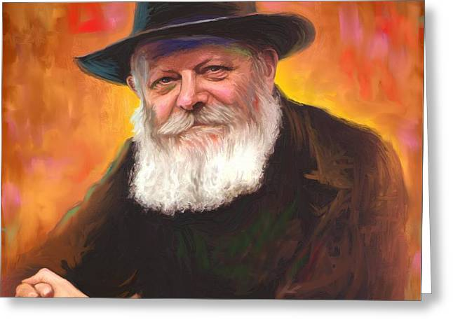 Lubavitcher Greeting Cards - Lubavitcher Rebbe Greeting Card by Sam Shacked