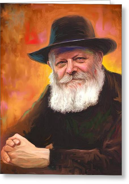 Portrait Paintings Greeting Cards - Lubavitcher Rebbe Greeting Card by Sam Shacked