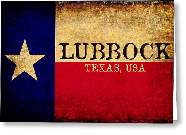 Flag Of Usa Greeting Cards - Lubbock Texas U.S.A. State Flag Vintage Greeting Card by Karl Jones