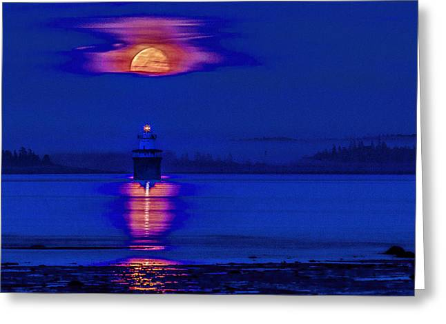 Moonrise Greeting Cards - Lubec Light Moonrise Greeting Card by Marty Saccone