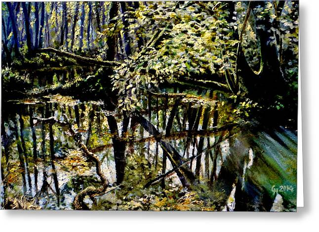 Reflections In River Greeting Cards - Lubianka-4 Mystery of Swamp Forest Greeting Card by Henryk Gorecki