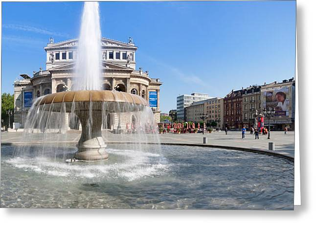 Arts Culture And Entertainment Greeting Cards - Lucae Fountain In Front Of Alte Oper Greeting Card by Panoramic Images