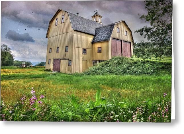 Barn Digital Greeting Cards - Lucas Farm Est 1893 Greeting Card by Lori Deiter