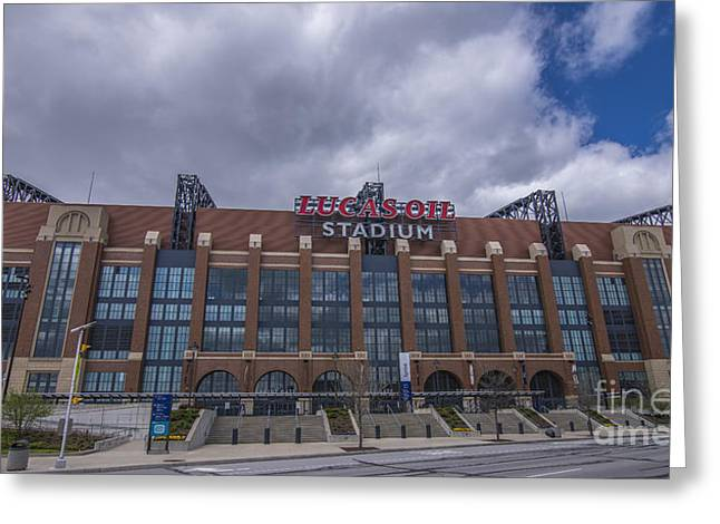 Indiana Art Greeting Cards - Lucas Oil Stadium Indianapolis Colts Clouds Greeting Card by David Haskett