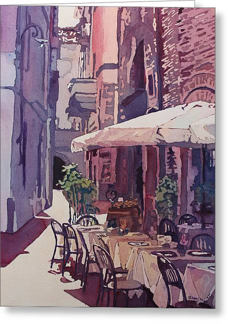 Lucca Cafe Greeting Card by Jenny Armitage