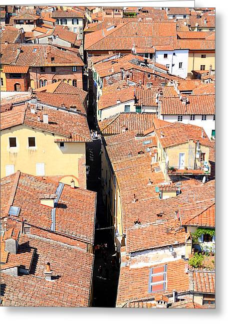 Lucca Greeting Cards - Lucca Roofs Greeting Card by Valentino Visentini