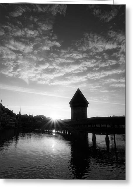 Swiss Culture Greeting Cards - Lucerne Switzerland at sunrise Greeting Card by Ron Sumners