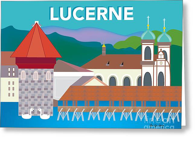 Small Canvas Greeting Cards - Lucerne Switzerland illustration by Loose Petals. Wall Decor for Office Home and Gifts style O-LUC Greeting Card by Karen Young