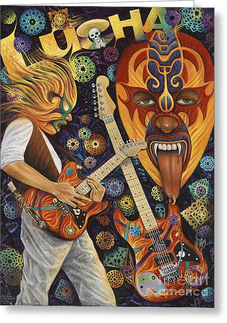 Oro Greeting Cards - Lucha Rock Greeting Card by Ricardo Chavez-Mendez