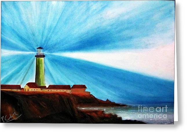 Luci Greeting Cards - Luci del faro Greeting Card by Piero C