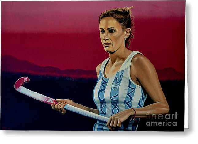 Hockey Paintings Greeting Cards - Luciana Aymar Greeting Card by Paul  Meijering