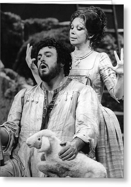 Pavarotti Greeting Cards - Luciano Pavarotti and Mirella Freni Greeting Card by Jurgen Lorenzen