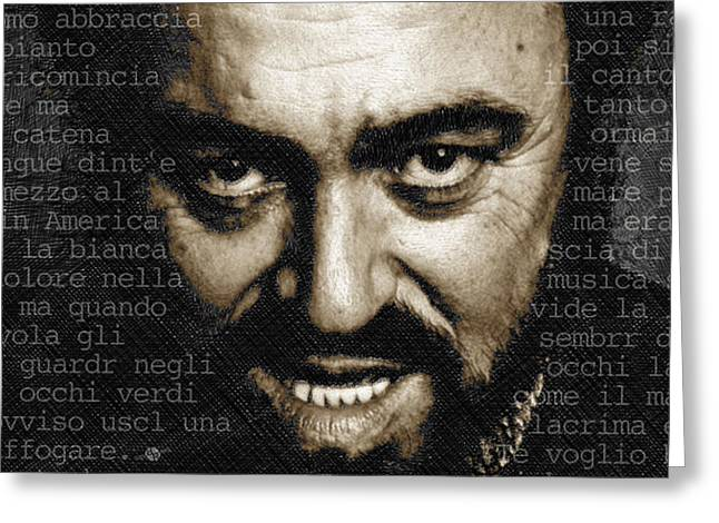 Pavarotti Greeting Cards - Luciano Pavarotti Horizontal Greeting Card by Tony Rubino