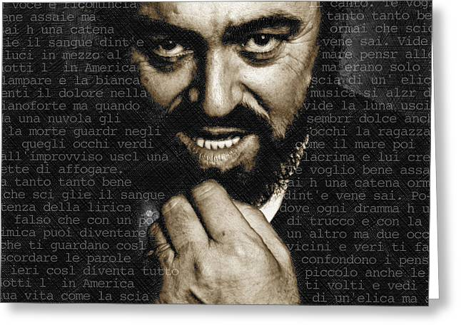 Celebrity Mixed Media Greeting Cards - Luciano Pavarotti Greeting Card by Tony Rubino