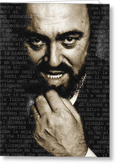 Pavarotti Greeting Cards - Luciano Pavarotti Vertical Greeting Card by Tony Rubino