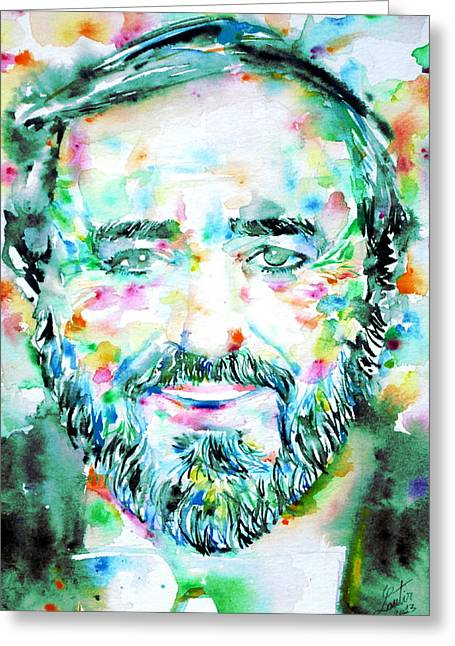 Pavarotti Greeting Cards - LUCIANO PAVAROTTI - watercolor portrait Greeting Card by Fabrizio Cassetta
