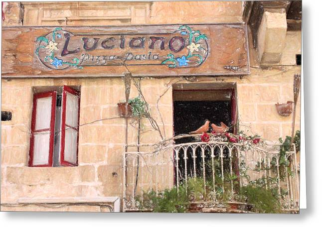 Best Seller Pastels Greeting Cards - Lucianos Pizza Greeting Card by Jon Delorme