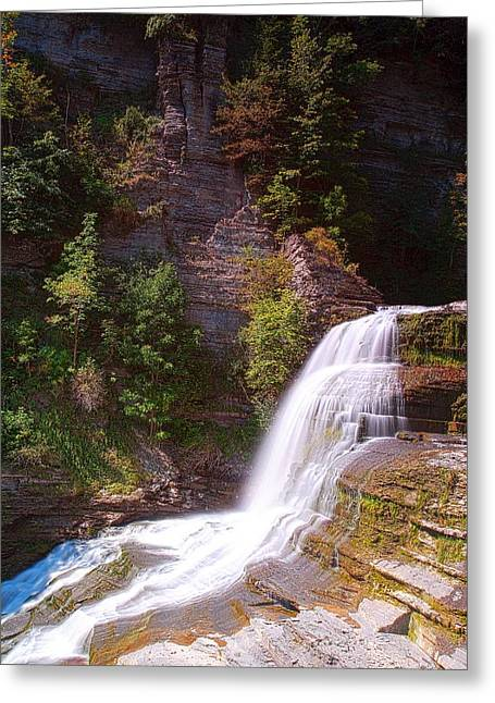 Finger Lakes Greeting Cards - Lucifer Falls II In Robert H. Treman State Park New York Greeting Card by Paul Ge