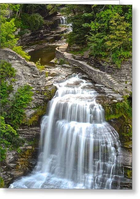 Finger Lakes Trail.cavern Cascade Greeting Cards - Lucifer Falls Greeting Card by Frozen in Time Fine Art Photography