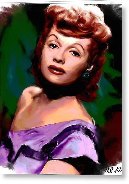Star Greeting Cards - Lucille Ball Greeting Card by Allen Glass