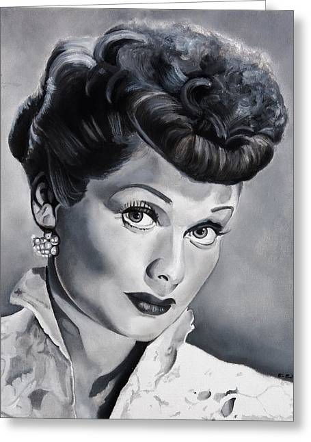 Comedian Greeting Cards - Lucille Ball Greeting Card by Brian Broadway