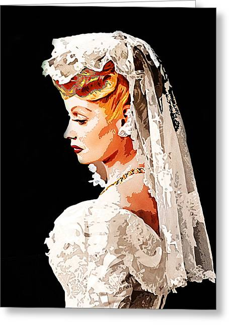 Lucille Greeting Cards - Lucille Ball Bride Greeting Card by Nuno Marques