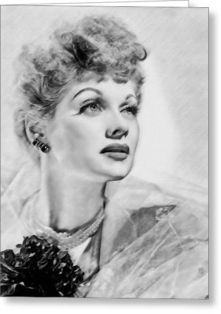 Most Greeting Cards - Lucille Ball Greeting Card by  Fli Art