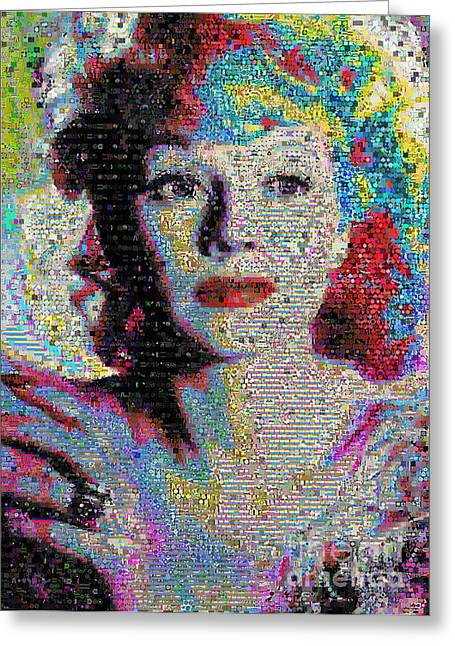 First Love Greeting Cards - Lucille Ball Collage Greeting Card by Johnlijo Bluefish