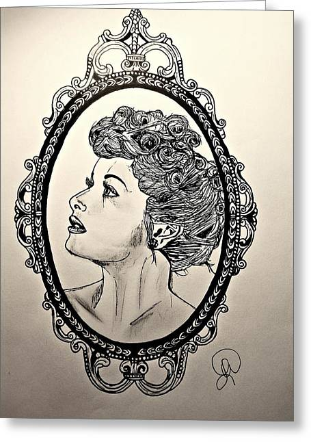 Lucille Greeting Cards - Lucille Ball in Frame Greeting Card by Lindsay Wood