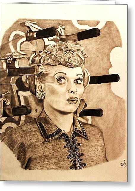 Hysterical Greeting Cards - Lucille Ball Greeting Card by Randy Mitchell
