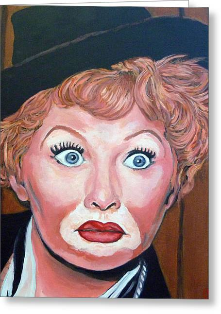 Celebrity Portrait Greeting Cards - Lucille Ball Greeting Card by Tom Roderick