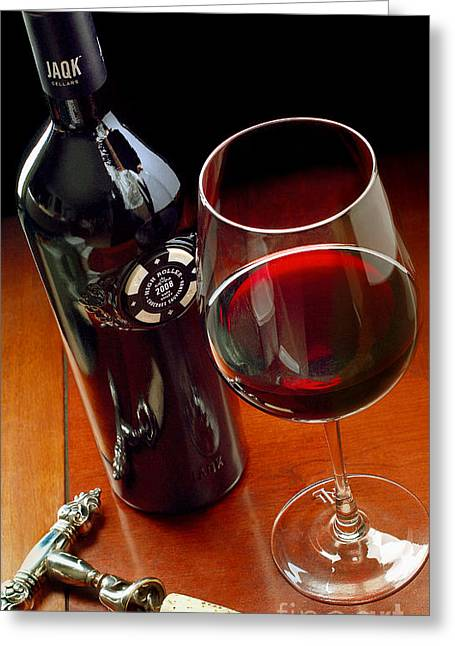 Red Wine Bottle Greeting Cards - Luck of the Draw Greeting Card by Jon Neidert