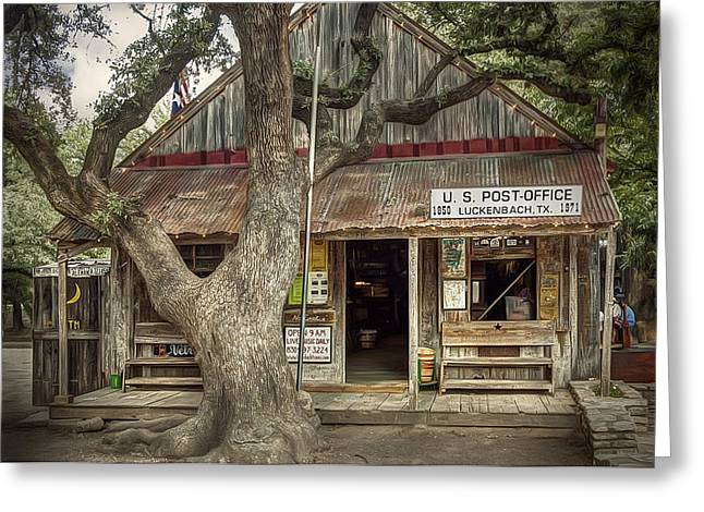 Posts Greeting Cards - Luckenbach 2 Greeting Card by Scott Norris