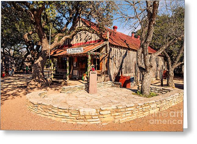 Country Music Town Greeting Cards - Luckenbach Post Office in Golden Hour Light - Texas Hill Country Greeting Card by Silvio Ligutti