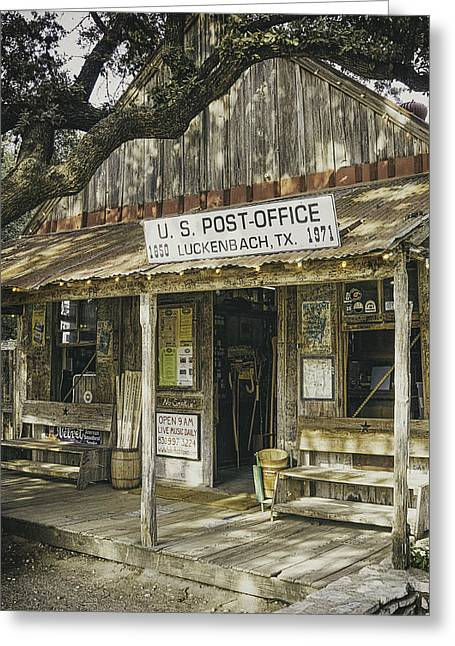 Wooden Greeting Cards - Luckenbach Greeting Card by Scott Norris
