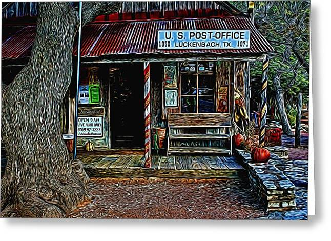 Historic Country Store Digital Art Greeting Cards - Luckenbach TX Painted Greeting Card by Judy Vincent