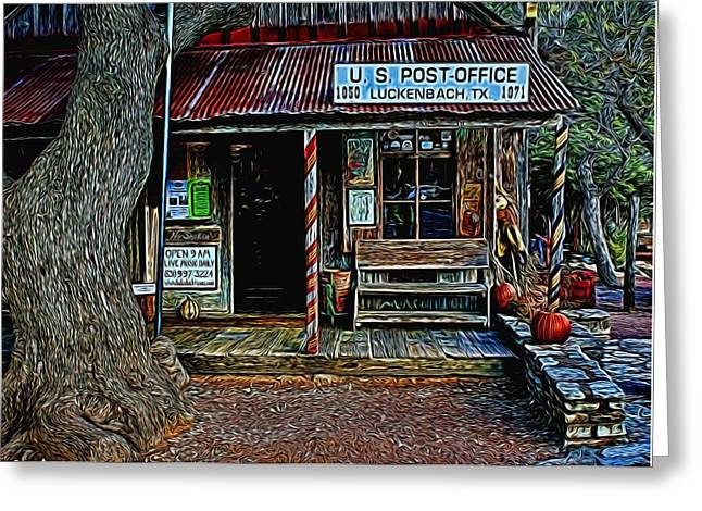 Historic Country Store Greeting Cards - Luckenbach TX Painted Greeting Card by Judy Vincent