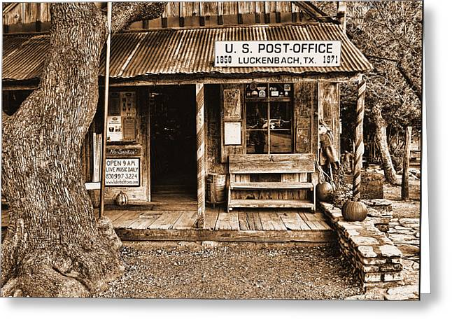 Historic Country Store Greeting Cards - Luckenbach TX Sepia Greeting Card by Judy Vincent