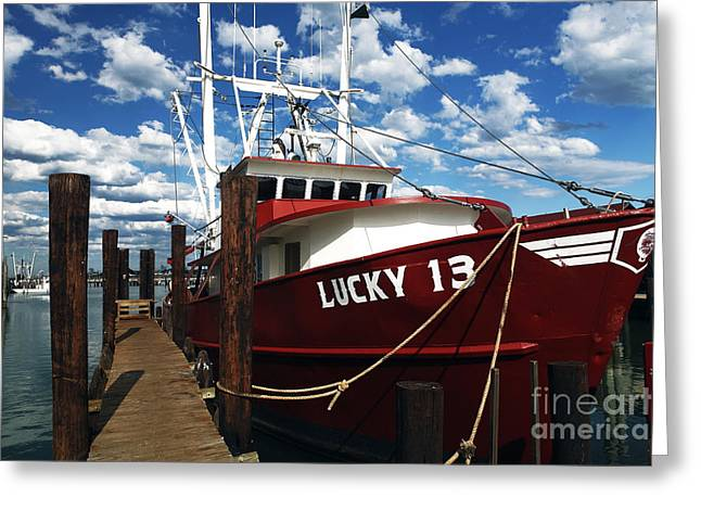 Recently Sold -  - Docked Boat Greeting Cards - Lucky 13 Greeting Card by John Rizzuto