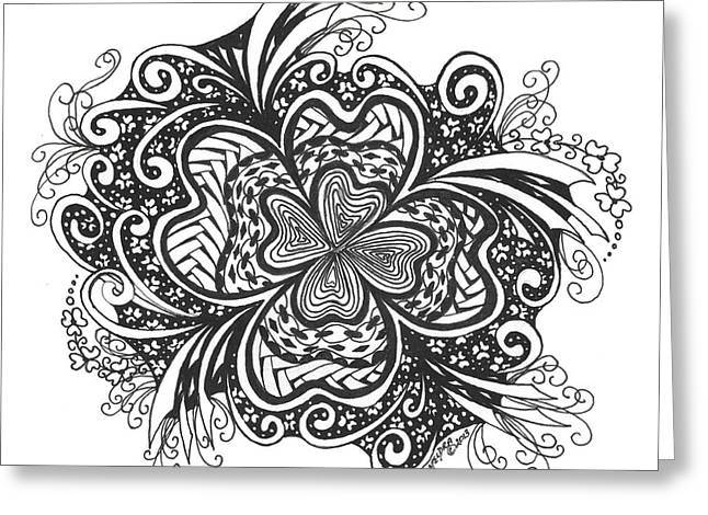 Pen And Ink Drawing Greeting Cards - Lucky 4 Leaf Clover Greeting Card by Meldra Driscoll