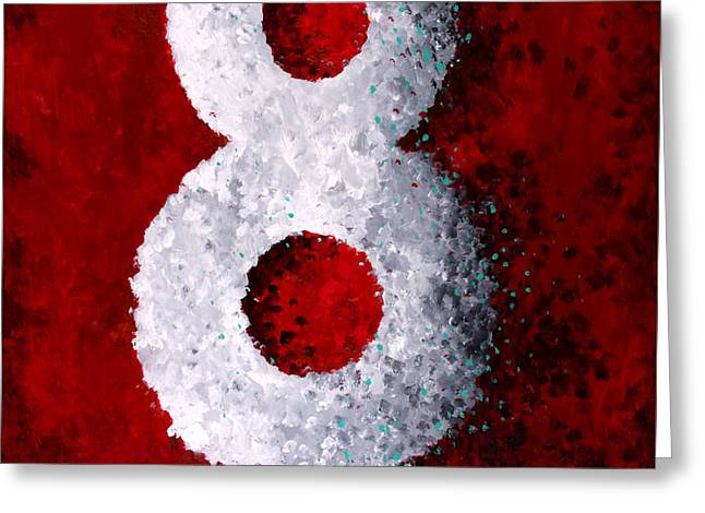 With Text Greeting Cards - Lucky 8 Greeting Card by Michelle Boudreaux
