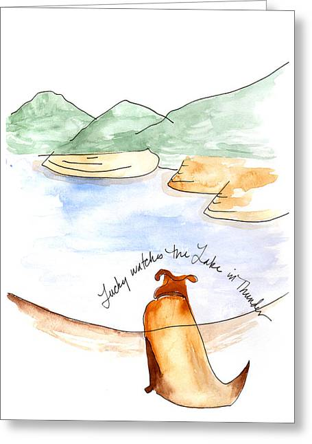 Lucky Dogs Paintings Greeting Cards - Lucky and Thunder Greeting Card by Anna Elkins